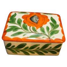 Erphila Art Pottery Czechoslovakia Orange Flower Hand Painted Trinket Box