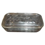 Hazel Atlas Ivy Clear Depression Refrigerator Dish 8 IN