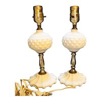Milk Glass Diamond Point Sawtooth Ball Scallop Foot Lamps Pair