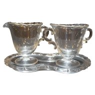 Fostoria Century Mini Cream Sugar Tray Set