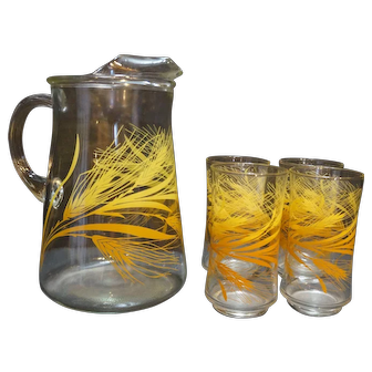 Libbey Wheat Pitcher Tumblers Set 5 Pieces 1970s-80s Golden Yellow