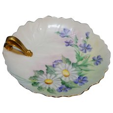 Hand Painted Nappy Daisies Purple Artist Signed Japan Porcelain