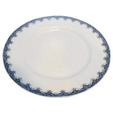 Limoges U.C. France Marshal Fields Plate Blue Floral Rim 8 3/4 IN
