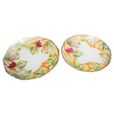 O & EG Royal Austria Fall Leaves Hand Painted Cabinet Plates Antique Porcelain
