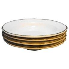 Homer Laughlin Best China Restaurant Ware Scalloped Gold Trim Rimmed Soup Bowls