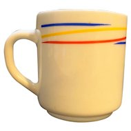 Arcopal Fireworks Milk Glass Mug Red Blue Yellow Stripes France