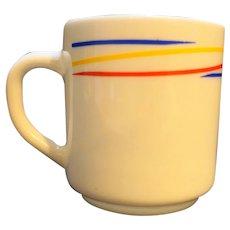 Arcopal Fireworks Milk Glass Mug Red Blue Yellow Stripes France