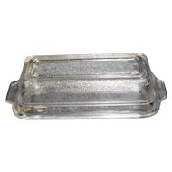 Fire King Anchor Hocking Clear Textured Glass Butter Dish