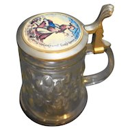 German Glass Stein Pewter Porcelain Lid