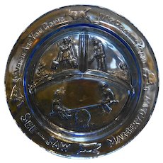 Tiara Exclusives Ice Blue Glass Nursery Rhyme Childrens Divided Plate See Saw Margery Daw