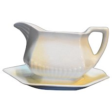 Adams Empress Ironstone Gravy With Underplate English Micratex White Ribbed
