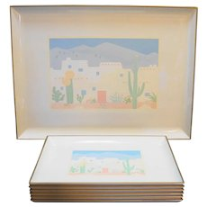 Otagiri Japan Lacquerware Curtis Swann 1980s Southwestern Pastel 7 Pc Tray Set