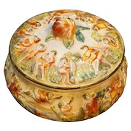Capodimonte Italy Dancing Cherubs Round Candy Dresser Covered Dish Box