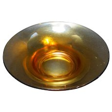 Marigold Carnival Stretch Flared Glass Open Round Console Bowl