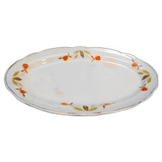 Hall Autumn Leaf Jewel Tea Oval Underplate Pickle Relish Gravy 8 7/8 IN
