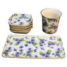 Violets Chintz Porcelain Smoking Set Napco Japan Cigarette Holder Ashtrays