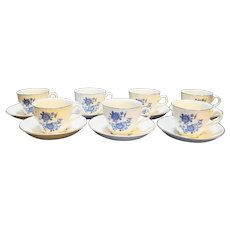 Wedgwood Royal Blue Ironstone Cups Saucers Set of 7