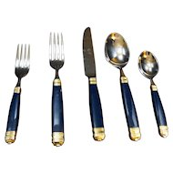 Mikasa Laslo Continental Navy Blue Flatware Place Setting 5 Pieces