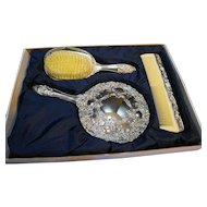 Davco Silver Ltd Silverplated Vanity Set Brush Comb Mirror