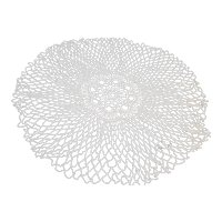 Handmade Crocheted Doily White Round Large Flower