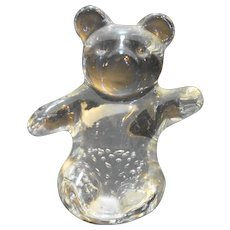 Art Glass Bear Controlled Bubble Clear Paperweight Figurine