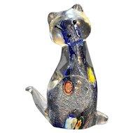 Murano Art Glass Blue Millefiori Cat Figurine Paperweight
