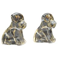 Federal Glass Mopey Dog Puppy Clear Candy Holder Figurines Pair 1940s