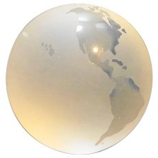 Frosted Glass Globe Earth Map Paperweight 3 IN