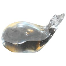Art Glass Whale Figurine Paperweight Clear