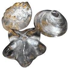 Art Glass Seashell Paperweights Set of 3