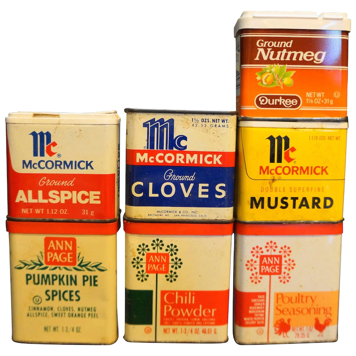 Spice Tins Vintage Lot McCormick Ann Page Durkee