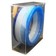Blue Lucite Flat Bangle Stack of Four