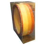 Orange Cream Brown Lucite Stack Four Bangles Set