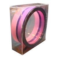Pink Purple Lucite Stack Bracelets Four Bangles