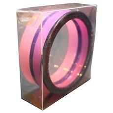 Pink Purple Lucite Stack Bracelets Four Bangles