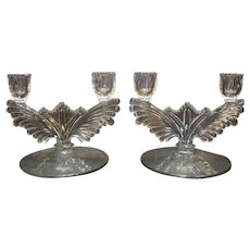 Tiffin 5904 Double Light Candle Holder Wing Shape Elegant Glass Pair