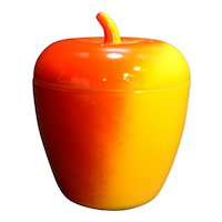 Hazel Atlas Apple Red Yellow Fired On Milk Glass Jam Jar 1930s