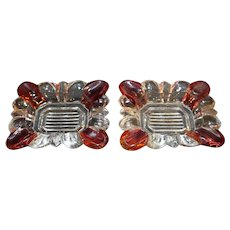 Ruby Flashed Clear Glass Ashtrays Pair Scalloped Rectangle