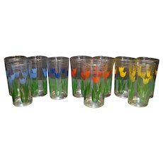 Swanky Swigs Tulip 11 Pieces Glass Blue Yellow Red