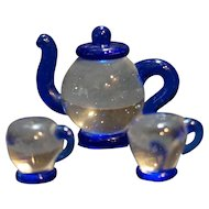Art Glass Miniature Teapot Cups Cobalt Blue Clear