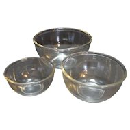 Clear Glass Nesting Mixing Bowls Set of 3 Beaded Rim