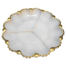 Fire-King Anchor Hocking White Milk Glass Relish Dish Gold Trim