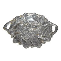 Indiana Glass Wild Rose Clear Cake Plate Handled 12 IN