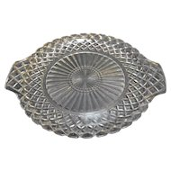 Anchor Hocking Waterford Waffle Depression Glass Cake Plate Tab Handles 12 IN
