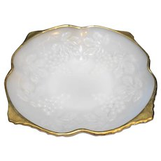Anchor Hocking Vintage Grape Milk Glass Square Bowl Gold Trim 8 5/8 IN