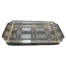 Hazel Atlas Criss Cross 1 Pound Butter Dish Only No Lid Clear Depression Glass