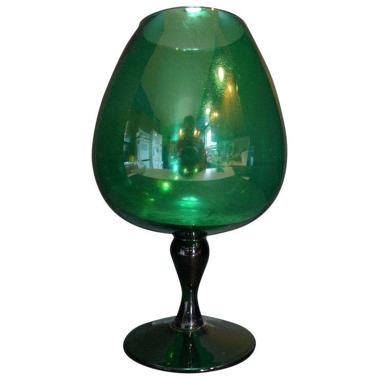 Emerald Green Art Glass Brandy Snifter Vase 10 34 In Hoosier