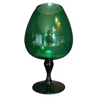 Emerald Green Art Glass Brandy Snifter Vase 10 3/4 IN