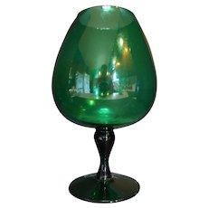 Emerald Green Art Glass Brandy Snifter Vase 10 3/4 IN