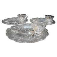 Indiana Glass Pebble Leaf Clear Snack Set 6 Pieces